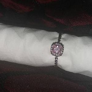 Sterling silver ring with pink stone
